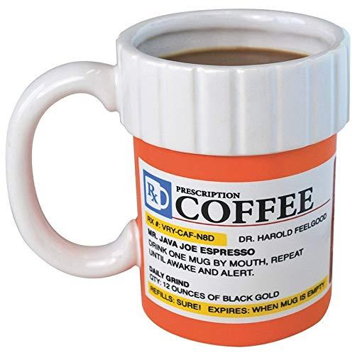 LLK Taza de café Botella de píldoras Cafeína Taza de café Farmacia RX Cerámica Creativa Tazas de café y Taza