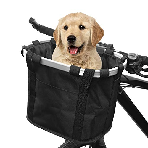 Robasiom Bicycle Front Basket,Collapsible Pet Bike Basket Removable Cycling...