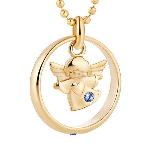 fish Bambino Catena del Battesimo Rivestito in oro Argento Anello blu Confezione Regalo di Nascita