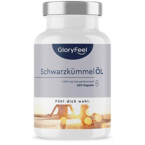 Schwarzkümmelöl - 420 Kapseln - 1000mg pro Tag - Das Original aus Ägypten - Kaltgepresst mit 80% essentiellen Fettsäuren plus 10mg Vitamin E - Laborgeprüft in Deutschland hergestellt