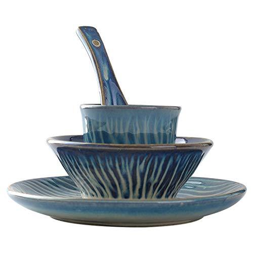 Vajillas combinadas Conjunto de vajillas de estilo chino retro para un restaurante de cerámica de una persona Platos de combinación especial, cucharas, tazas y placas con set de cuatro piezas Juego de