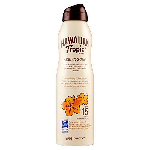 HAWAIIAN Tropic Satin Protection Continous Spray SPF 15 - Bruma Solar Protectora de Absorción Rápida, Protección Solar No Grasa, 220 ml, Crema