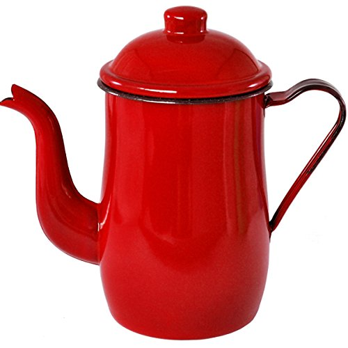 Bule Esmaltado Ágata Vermelho Para Café Estilo Retro 1,25 Litros - Metallouça