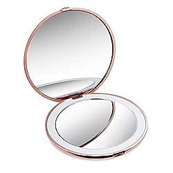 Taschenspiegel Mini Schminkspiegel mit LED Licht, 1X / 10X Vergrößerung Make-Up Spiegel Tragbarer Kosmetikspiegel Beleuchteter Kompaktspiegel für Unterwegs (Rosegold)