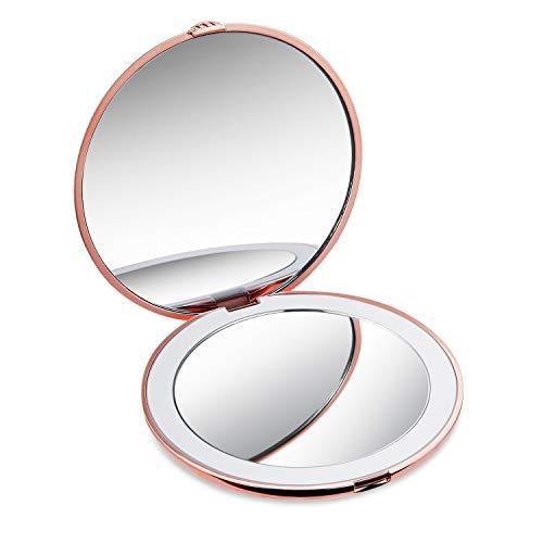 LED Taschenspiegel Beleuchteter Schminkspiegel mit Vergrößerung Make-Up Spiegel Tragbarer Kompaktspiegel für Unterwegs (Rosegold)