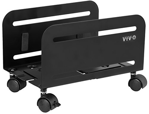 VIVO Black Computer Tower Desktop ATX-Case, CPU Steel Rolling Stand, Adjustable Mobile Cart Holder with Locking Caster Wheels (CART-PC01)