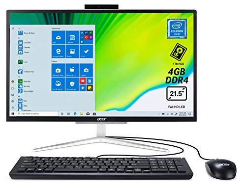 Acer Aspire C22-820 All-in-One con Processore Intel Celeron J4005, RAM 4 GB DDR4, 1000 HDD, Display 21.5' Full HD LED LCD, Scheda Grafica Intel HD, Wireless Lan, Tastiera e Mouse USB, Windows 10 Home