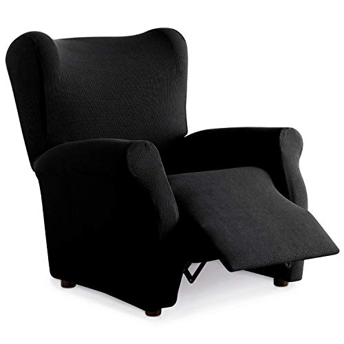 Eiffel Textile Funda Sillon Elastica Protector Adaptable Rústica Relax, Negro