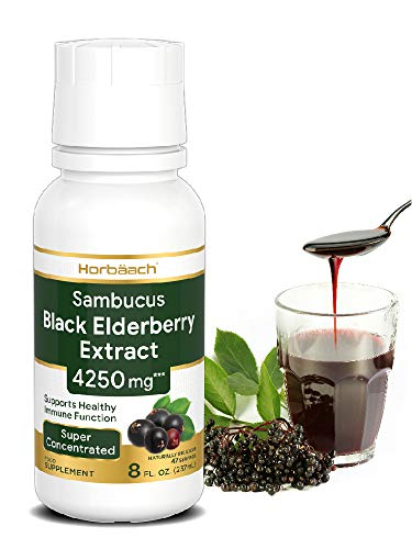 Black Elderberry Extract 4250mg Liquid | 8 fl.Oz | Immune System Health | Non-GMO, Gluten Free & Vegan/Vegetarian | by Horbaach