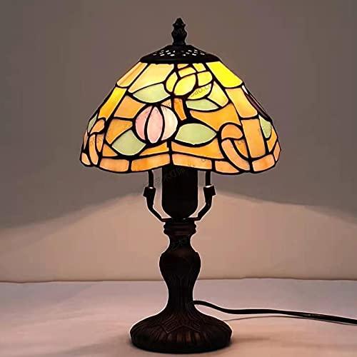 Tiffany Style Lámparas De Mesa, Shade De Vidrieras Lámpara Escritorio, Base De Bronce Antiguo Lámpara De Tabla Para Sala De Estar Dormitorio Día De San Valentín Regalo Para Padres