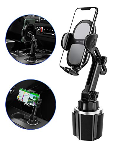Car Cup Holder Phone Mount, SPARIN [Upgraded] Adjustable Car Phone Mount Cup Holder for iPhone 11/11 Pro / 11 Pro Max/X, Samsung Galaxy S20/S10/S9 Note 10/9/8, Google, GPS and More, Black