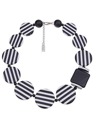 Leslii Damenkette Statement Stripes Round aus Kunststoff Länge 50cm in Schwarz Weiß