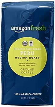AmazonFresh Organic Fair Trade Peru Ground Coffee Medium Roast 12 Ounce
