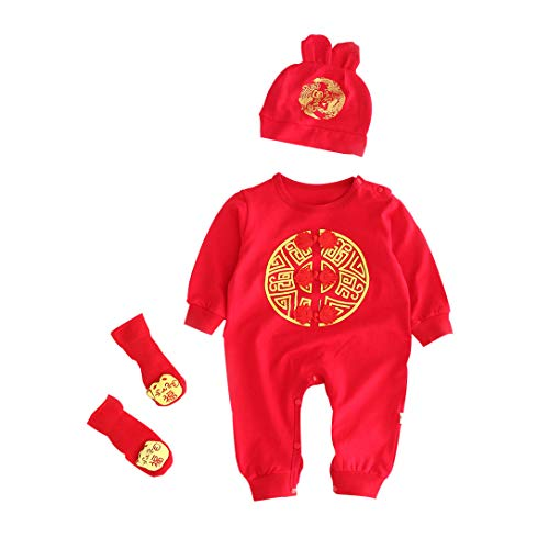 3pcs Newborn Infant Toddler Kids Baby Girl Boy Chinese Style Romper Jumpsuit Onesies+Hat+Socks Outfits for 0-2Y (Red, 6-12 Months)