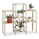 Relaxdays Pflanzenregal Holz, für Innen, stabil, rustikal, rostfrei, massiv, Blumenregal, HxBxT: 86...