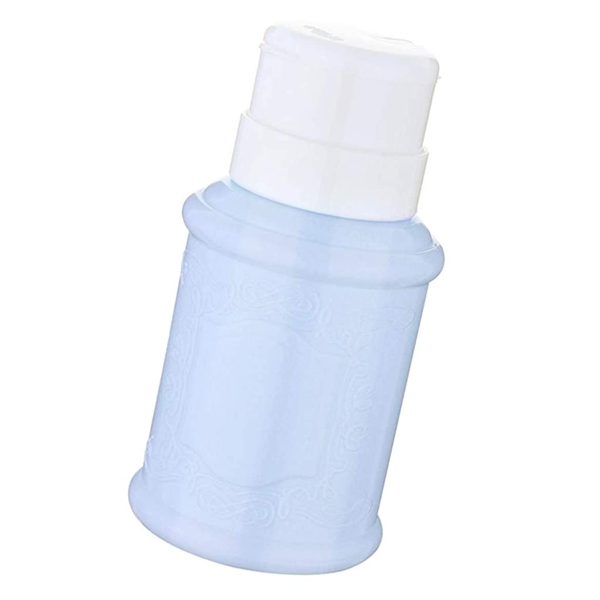 れる機械的恒久的ポンプディスペンサー ネイル リットル空ポンプ ネイルクリーナーボトル 全3色 - 青