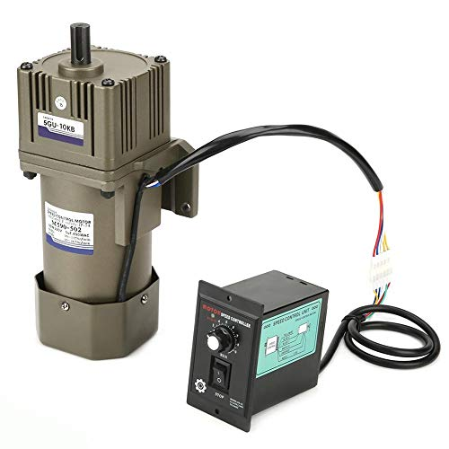 AC 220V 90W Motor de velocidad ajustable Motor de inversor ajustable de velocidad continua con regulador de caja de cambios y soporte(10K)