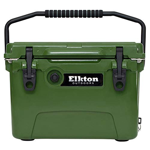 Elkton Outdoors Ice Chest. Heavy Duty, High Performance Roto-Molded Commercial Grade Insulated Cooler, 20-Quart, Green