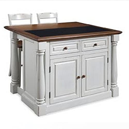 Big Sale Home Styles 5021-948 Monarch Kitchen Island with Granite Top and 2 Stool, Antiqued White Finish