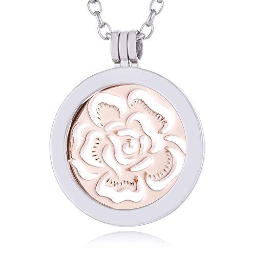 Morella Collana Donna in Acciaio Inox con Coins Moneta amuleto Ciondolo Rotondo 33 mm Mare di Fiori Color Oro Rosa in Sacchetto di Velluto