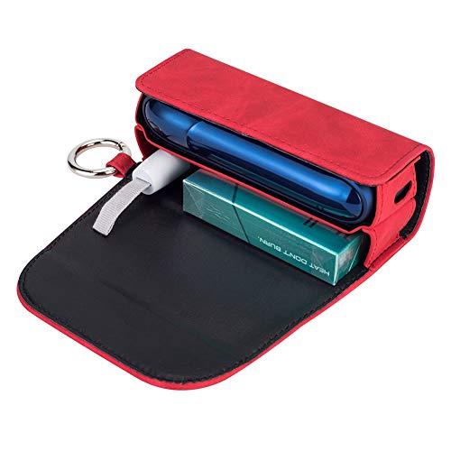 DrafTor E Zigarette Tasche, PU Leder Zigarettenetui fr 3.0 mit mit Clip oder Schnalle (nur Geldbrse) (Rot)