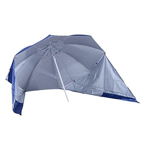 Outsunny 2 in 1 Sonnenschirm Strandschirm Windschutz Strandmuschel Blau Φ210xH222cm