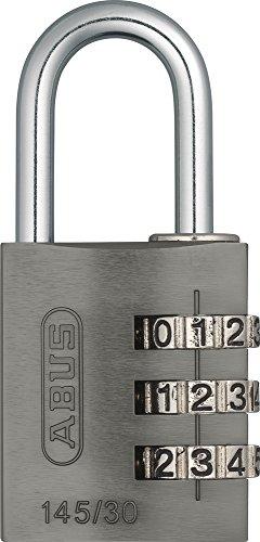 ABUS Zahlenschloss 145/30 Titanium - Vorhängeschloss aus massivem Aluminium - mit individuell einstellbarem Zahlencode - 46585 - Level 3