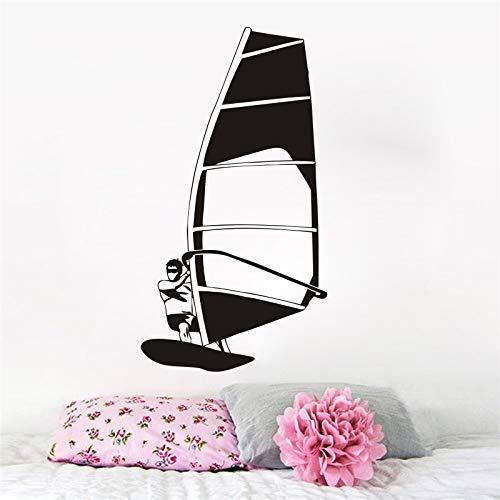 tong99 Surfen Sport Wandaufkleber Vinyl Wandtattoo Windsurfen Segel Wassersport Wandbild Strand Stil Vinyl Wand Fenster Kunst Poster 57x105 cm