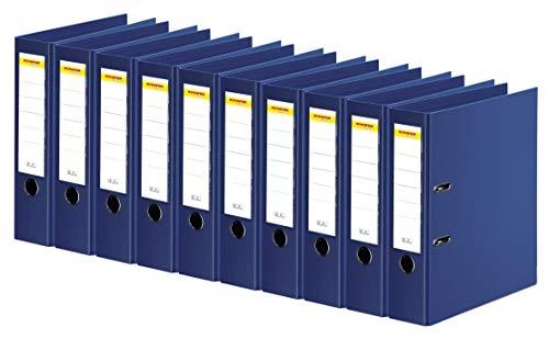 SCHÄFER SHOP Ordner A4 breit – Ringbuch Aktenordner Büroordner Kunststoffordner - Made in Germany - blau, 80 mm, 10er Pack