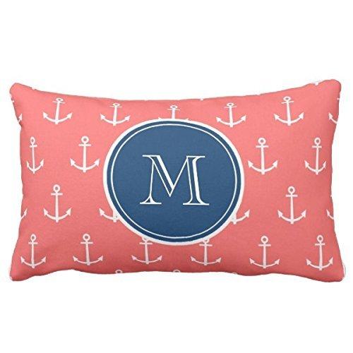 Art color Motif corail Blanc Motif ancres, Bleu marine Monogramme Taie d'oreiller pour canapé