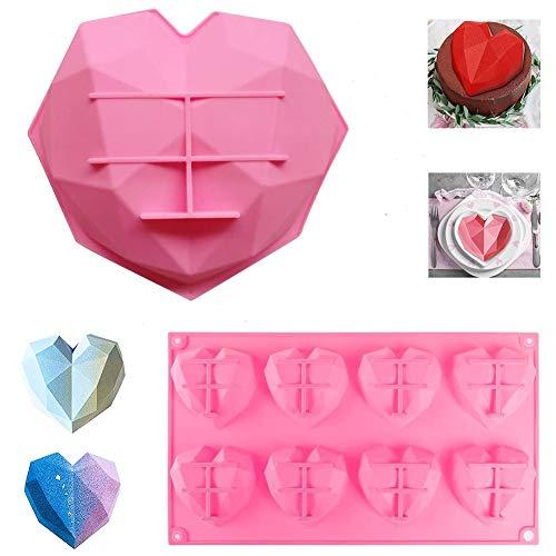 Paquete de 2 moldes de silicona con forma de diamante en forma de corazón y chocolate, para repostería y postre (rosa)