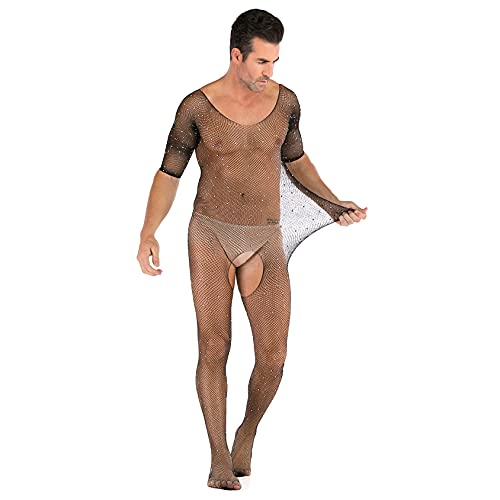 2 piezas de ropa interior para hombre One Piece Halter Body Linger Leotard Lingerie Pijamas, Halter Pantyhose Medias (40kg-90kg),Negro,One Size