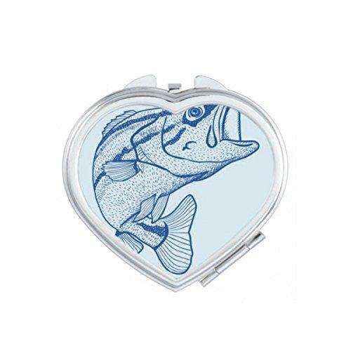 DIYthinker Grain Bleu Big Fish Coeur Maquillage Compact Miroir de Poche Portable Mignon Petit Cadeau Miroirs Main Multicolore