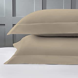 Pizuna 400 Thread Count Cotton-Pillow-Cases-Set of 2 Standard Simply Taupe, Luxurious Soft Sateen 100% Long Staple Cotton ...