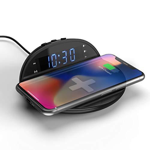 Reloj Despertador Digital con Cargador Inalámbrico Rápido 10W, Alarma Dual, Pantalla LED con 5 Niveles de Luz, Reloj Digital Sobremesa o Mesilla de Noche con Base de Carga Inalambrica Wireless Charger