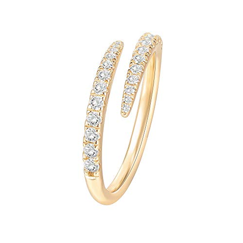 PAVOI 14K Gold Plated Cubic Zirconia Open Twist Eternity Band Yellow Gold for Women Size 6