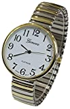 Super Large Face Easy to Read Two-Tone Stretch Band Watch