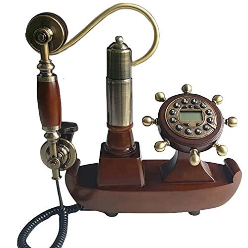 ELKeyko Pasado de Moda Europe CORDLE Wood TELEFONO Antiguo TELÉNTICO TELÉNTICO Vintage Ajuste TELÉNTICO TELEFONE Barco for la Oficina de la Oficina Teléfono nostálgico (Color : Leather Line)