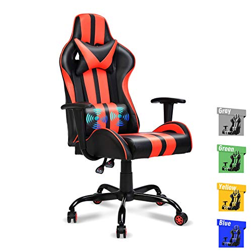 Ferghana Massage Gaming Chair, PC Computer Chair, Video Game Chair, Ergonomic Office Chair, Racing Style PU Leather Desk Chair with Lumbar Support Headrest Armrest Rolling Swivel Chair (Red)