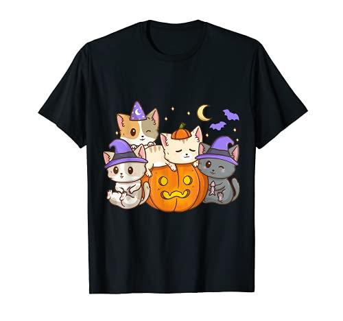Gatos Divertidos En Una Calabaza Halloween Niñas Niños Camiseta