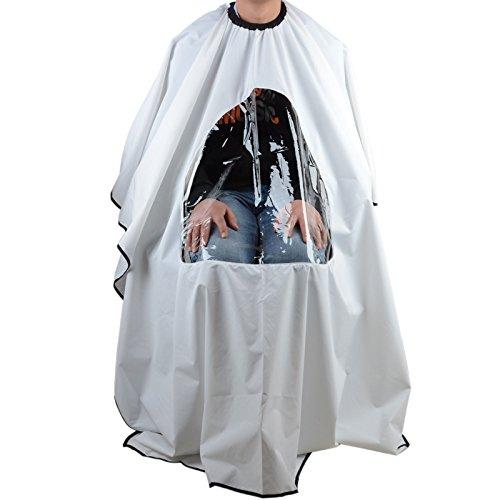 UEETEK Cabo de Peluquería Peluquero Vestido Capa de Salón de Corte Pelo con Ventana Visualización de Cabello - Blanco