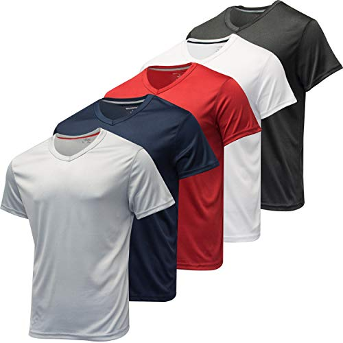 5 Pack: Men's V Neck Mesh Active T-Shirt Essentials Performance...