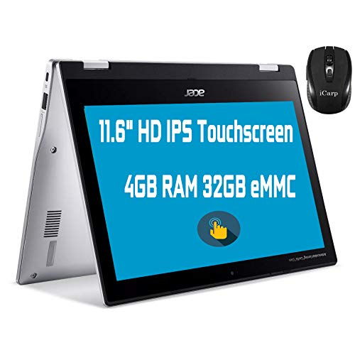 "Flagship Acer Spin 311 2 in 1 Chromebook Laptop 11.6"" HD IPS Touchscreen MediaTek MT8183 Octa-Core Processor 4GB RAM 32GB eMMC USB-C Bluetooth WiFi Chrome OS + iCarp Wireless Mouse"