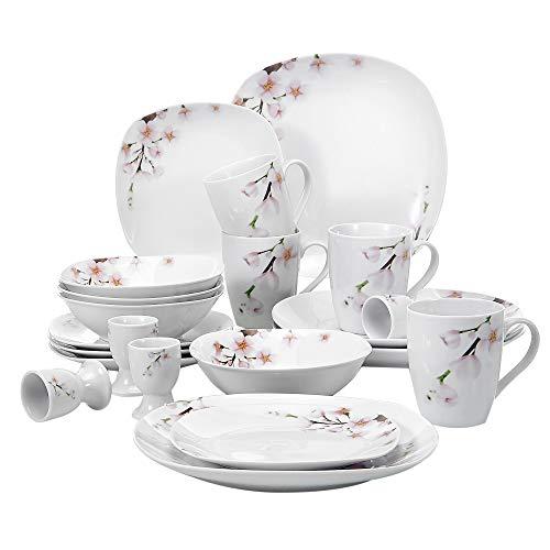 VEWEET Annie 20 Piezas Vajillas de Porcelana Juegos con 4 Hueveras, 4 Tazas Mugs 350 ml, 4 Cuencos de Cereales, 4 Platos y 4 Platos de Postre para 4 Personas