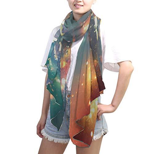 LZXO Schal für Damen, Galaxie-Design, bedruckt, modisch, lang, weich, leicht, für alle Jahreszeiten