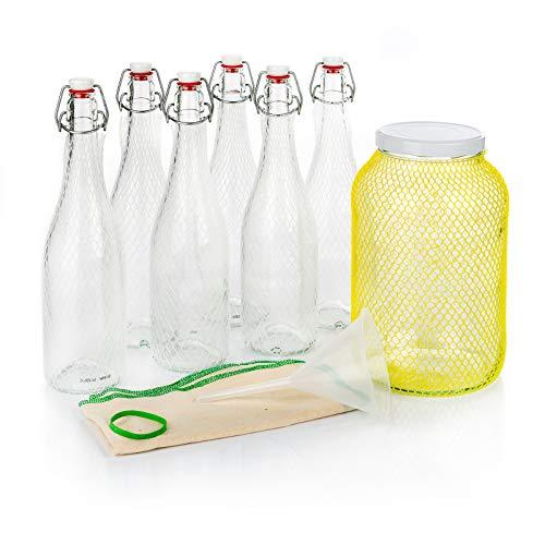 myFERMENTS Probiotic Drinks Making Kit – Kombucha, Kefir, Beer – Large Glass Jar (4.25 L), 6 Glass Bottles with Airtight Closure 750 ml, Funnel and Muslin