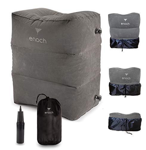Enoch Inflatable Travel Footrest Pillow with Air Pump, Inflatable Ottoman Foot Rest on Airplanes, Cars, Trains, Office, Travel Bed for Kid | Adjustable Height, Travel Gadgets and Accessories.