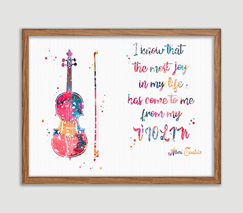 Violin Quote by Albert Einstein Watercolor Poster