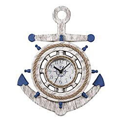 La Crosse BBB84008 14 inch Blue & White Anchor Quartz Wall Clock, White