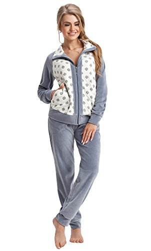 LEVERIE trendiger Damen Wellnessanzug/Hausanzug/Trainingsanzug mit stylischer Sweatjacke & bequemer Hose, made in EU, grau, Gr. XL